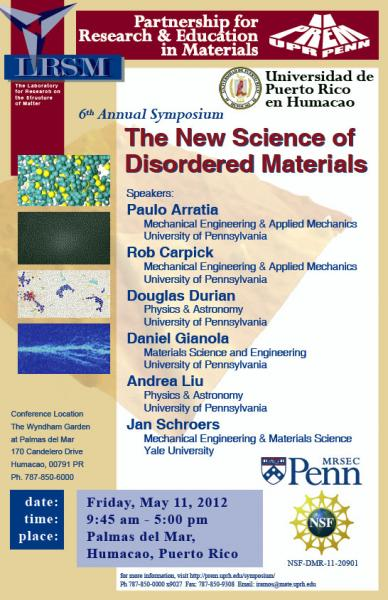 6th Annual Symposium,The New Science of Disordered Materials