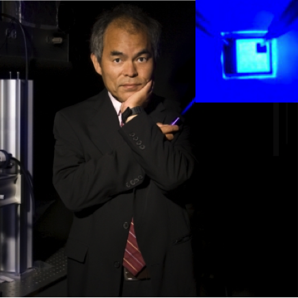 Picture of Professor Nakamura with blue LED in inset.